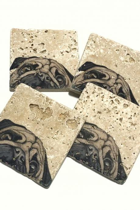 Pug Coasters, Natural Stone Coasters, Set of 4, Dog Coasters, Pug Lover, Pug Life