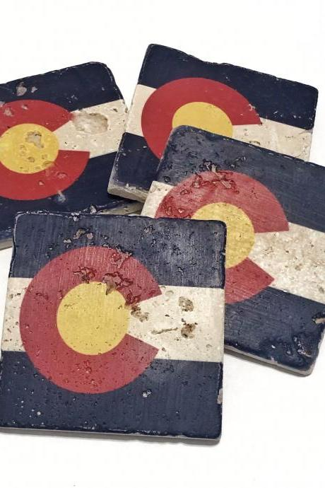 Colorado State Flag, Premium Natural Stone Coasters