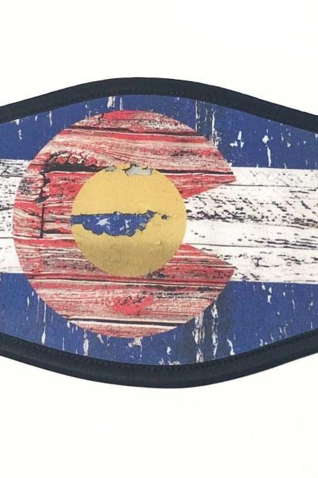 Colorado State Flag Face Mask Double Sided Triple Layer