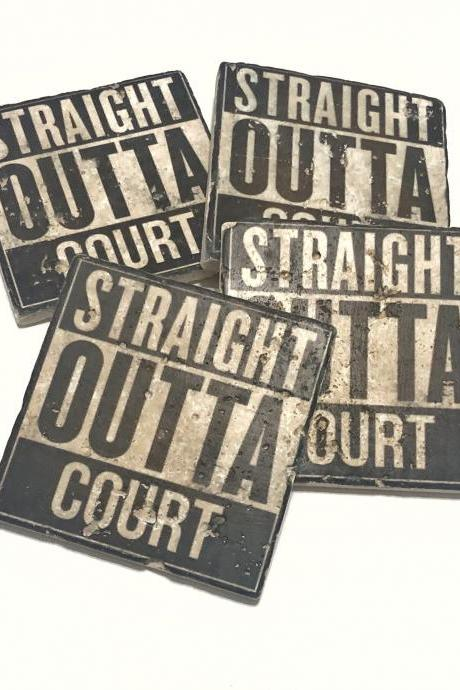 Straight Outta Court Natural Travertine Tile Stone Coasters Set of 4 with Full Cork Bottom Lawyer Gift Attorney Gift Judge Coasters