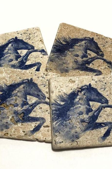 Watercolor Horse Blue Natural Stone Coasters, Set of 4