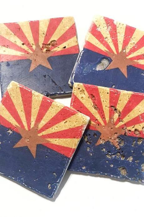 Arizona State Flag Premium Natural Stone Coasters