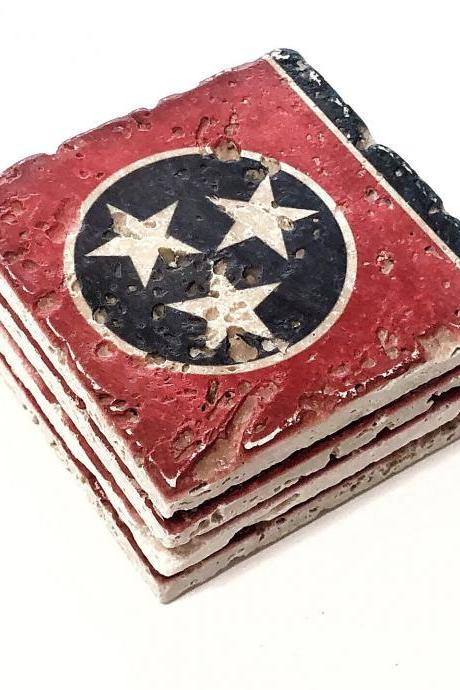 Tennessee State Flag Premium Natural Stone Coasters, with Full Cork Bottom