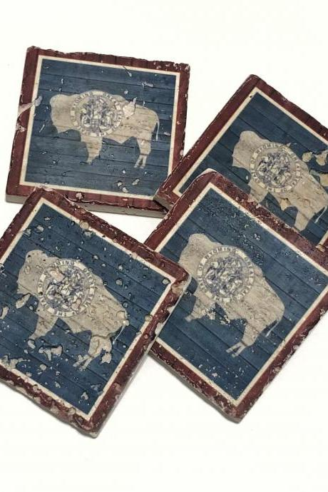 Wyoming Barnwood-Look State Flag, Premium Natural Stone Coasters, with Full Cork Bottom