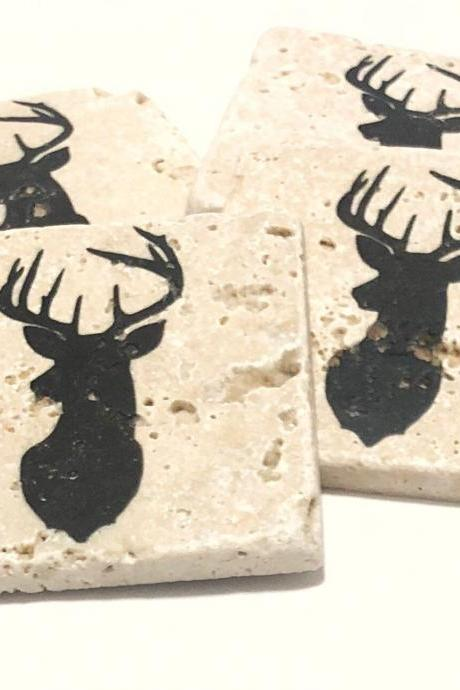 Deer Head Coasters, Natural Stone Coasters Set of 4