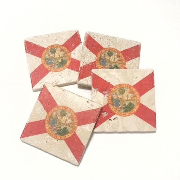 Florida State Flag Premium Natural Stone Coasters