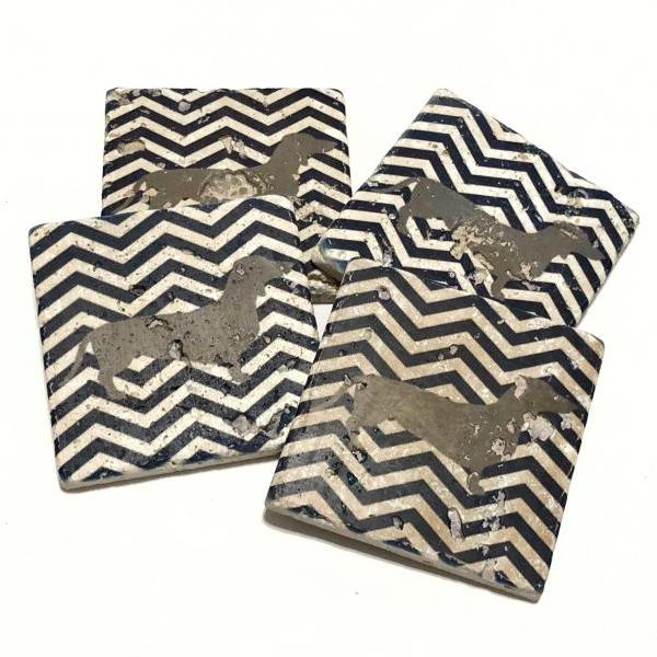 Wiener Dog Natural Stone Coasters, Dachshund with Navy Blue Chevron, Set of 4